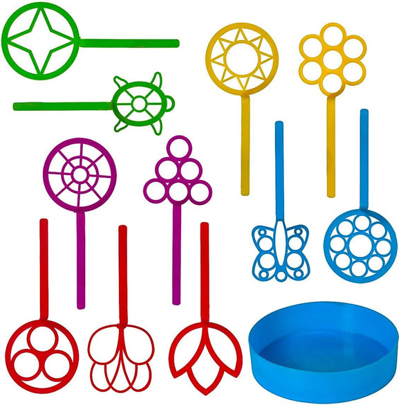 Neliblu Bulk Bubble Wand Set - Bubbles Wand Assortment - Party Favor Set of 11 Assorted Shapes and Colors Plus a Convenient Bubble Solution Tray