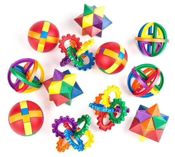 Fun Puzzle Balls - Goody Bag Fillers - Party Favors, Party Toys, Goody Bag Favors, Carnival Prizes, Pinata Filler - Fidget Brain Teaser Puzzles (12 Pack)