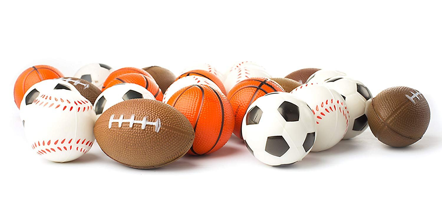 Stocking Stuffers Bulk 2 Dozen Balls Baseball Squeeze Balls for Stress Relief Basketball Ball Games and Prizes Includes Soccer Ball Party Favors Football Set of 24 Sports 2.5 Stress Balls