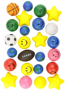 "24 Stress Balls - Bulk Stress Relief Toys Assortment - 2.5"" Stress Balls, Smile Face, Globe, Sport Balls, Hearts and Stars for Treasure Box Classroom Prizes, Party Favors, Or Just Because (2 Dozen) Assorted Designs and Colors for Kids, Adults and Teens"