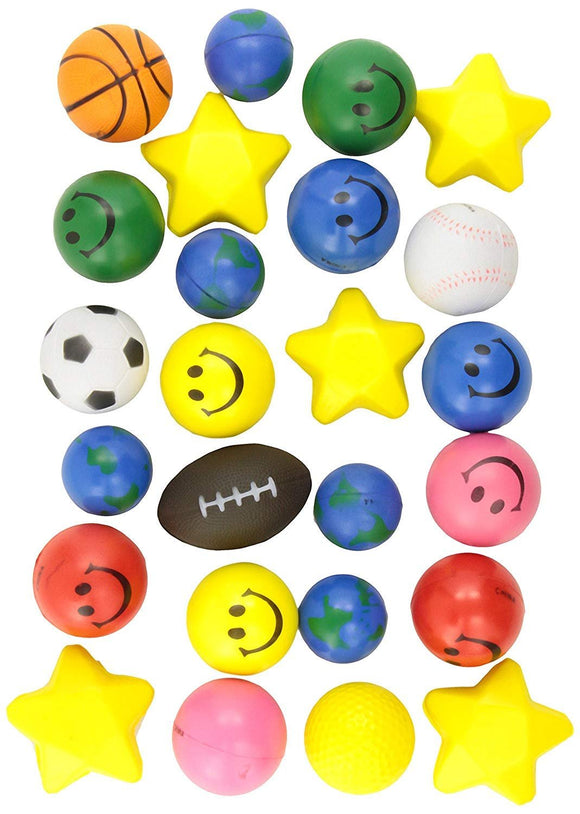 24 Stress Balls - Bulk Stress Relief Toys Assortment - 2.5