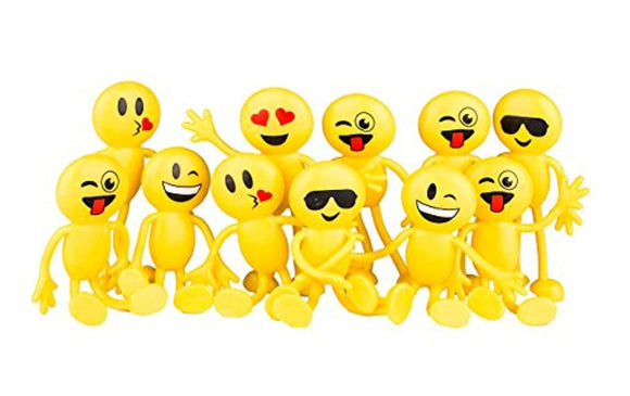 Emoji Smiley Face Bendable Figures - Bulk pack of 12 4.5