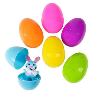 Neliblu Pre Filled Easter Eggs Bulk Pack of 12 Jumbo Plastic Easter Eggs Stuffed with Plush Easter Bunnies by
