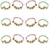 Neliblu Bulk Jingle Bell Christmas Bracelets Red and Green Adjustable Bracelets or Stocking Stuffers - for Kids and Adults - 1 Dozen Pack