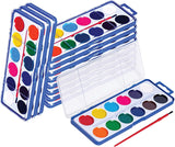 Watercolor Paint Set for Kids - Bulk Set of 12 - Washable Paints in 12 Colors - Perfect for Home, School and Party- Paintbrush Included