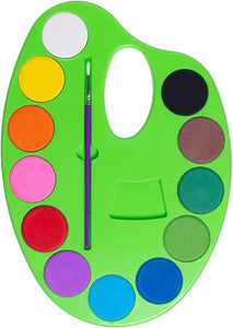 Watercolor Paint Palette for Kids - Washable Non Toxic Paints in 12 Bright and Vivid Water Colors - Mess Free and Fun - Develops Artistic Talent in Children at Home or School - Paintbrush Included