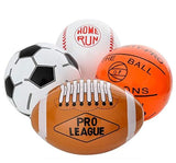 "12-Pack 16"" Inflatable Sport Beach Balls - 3x Basketballs, 3x Baseballs, 3x Footballs, 3x Soccer Balls, Sports Party Decorations and Party Favors for Parties, 12 Safe & Strong Super Fun Inflated Toys"