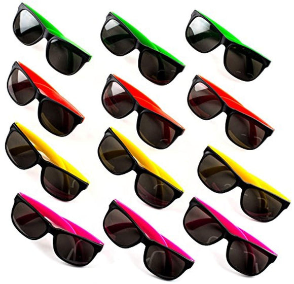 Neon Sunglasses Party Favors - Bulk Party Pack of 24 Glasses