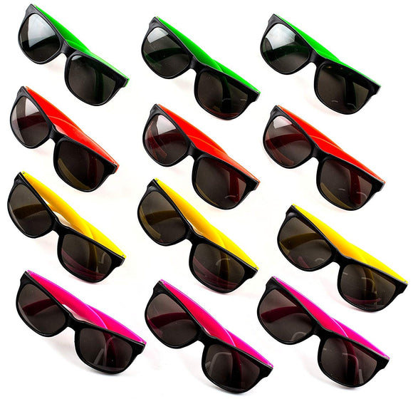Neliblu Kids Sunglasses Party Favors by 80's Style Sun Glasses for Beach and Pool Parties, Carnival Prizes, Party Favors, Party Toys, Bulk Pack Neon Sunglasses for Kids And Adults (1 Dozen)