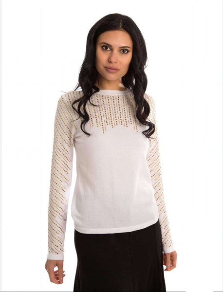 Pascal Knit Top With Gold Studs