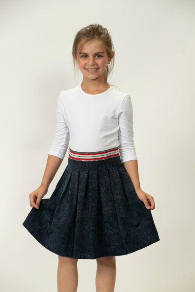 Dot Line denim skirt DS2107