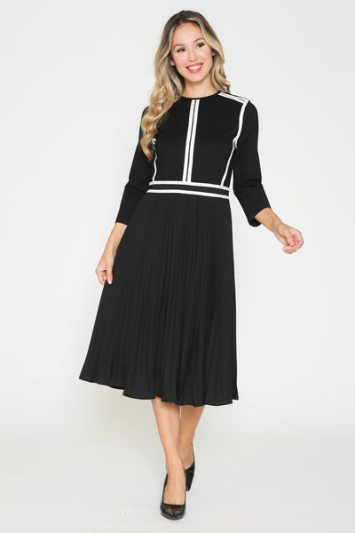 Edera Striped & Pleated Dress