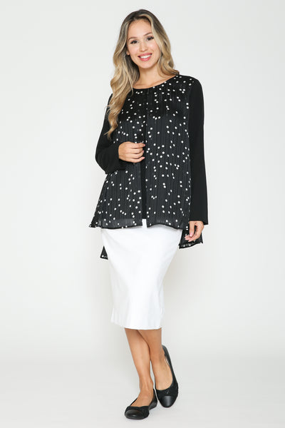 Ivee Polka Dot Split Overlay Top