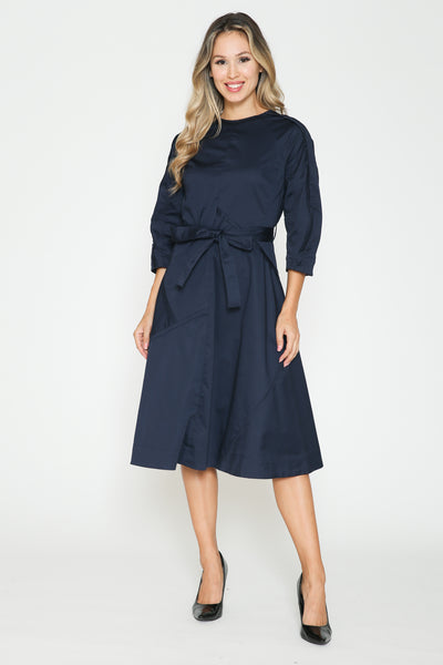 Ivee Polished Cotton Belted Dress