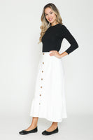 Ivee Button Front Low Ruffle Midi Skirt