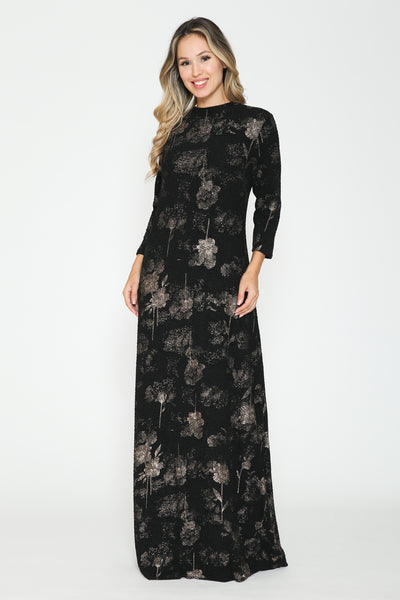 Ivee Abstract Flowers Maxi Dress
