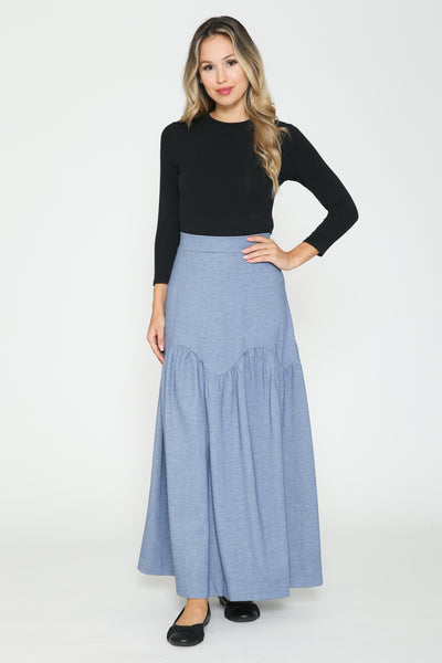 Ivee Scalloped Tier Midi Skirt