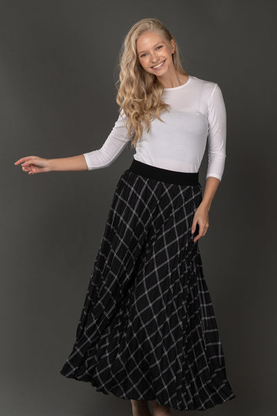 Harper Checkered Pleated Maxi Skirt