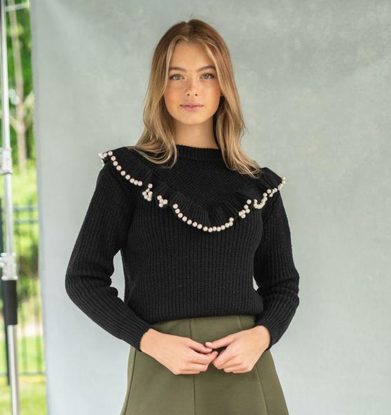 Front Row F20C16 Pearl Ruffle Sweater