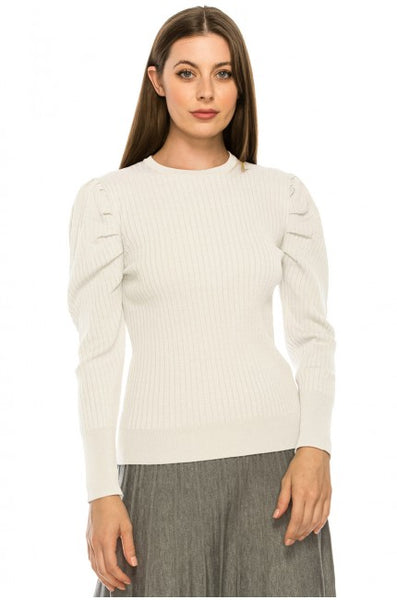 Yal Ribbed Puff Shoulder Sweater