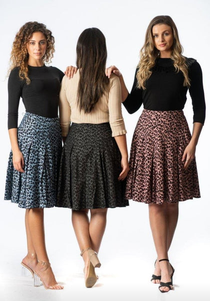 Front Row S20C10B Leoprd Pleated Skirt