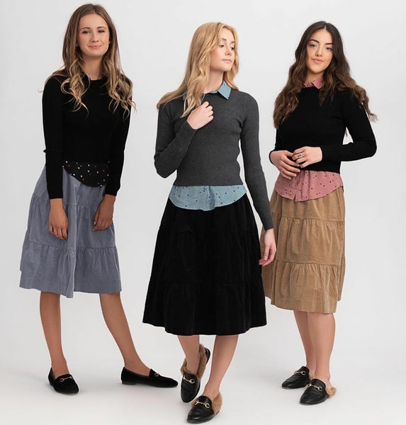 Unclear WB0CYT1328 Tiered Corduroy Skirt