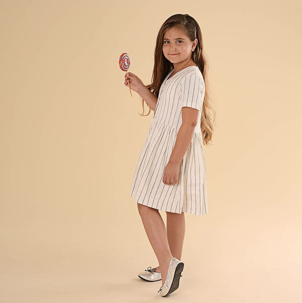 Pompomme Striped Gathered Dress