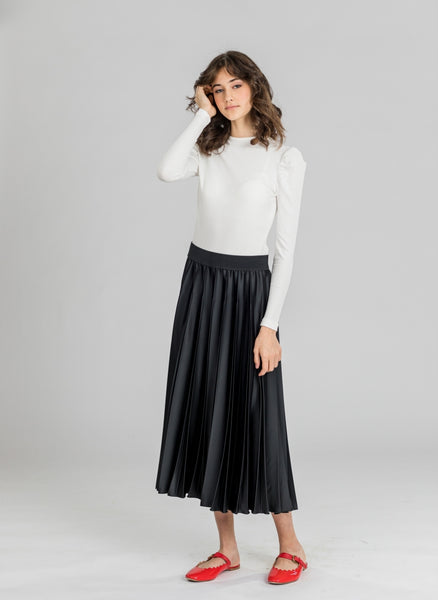 Ginger Leather Pleated Skirt