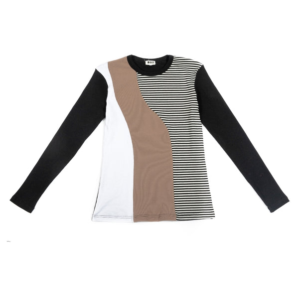 Dot Ribbed Color Blocked Tee