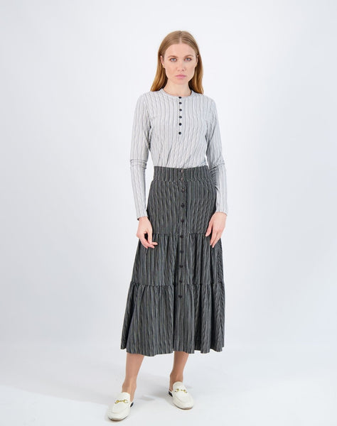 Riff Ribbed Midi Button Tiered Skirt
