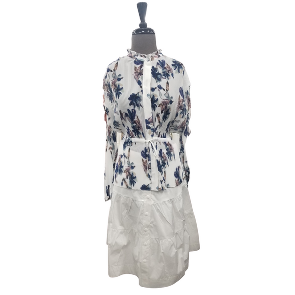 Blue Perla Floral Pleated Top