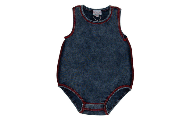 Bopop Denim Romper With Red Stitching