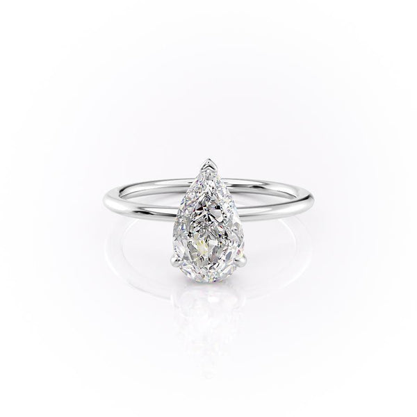 14k White Gold Pear Solitaire Kamelie, 3.12TCW  18k White Gold Pear Solitaire Kamelie, 3.12TCW