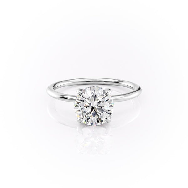 14k White Gold Round Solitaire Kamelie, 0.82TCW  18k White Gold Round Solitaire Kamelie, 0.82TCW