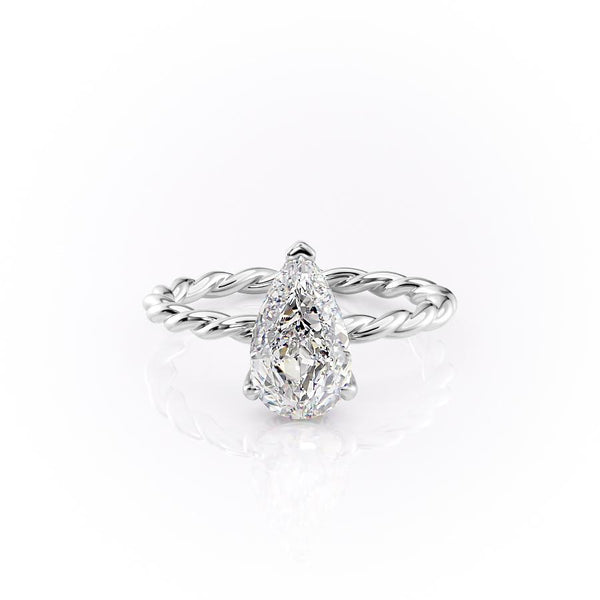 14k White Gold Pear Solitaire Alice, 5.05TCW  18k White Gold Pear Solitaire Alice, 5.05TCW