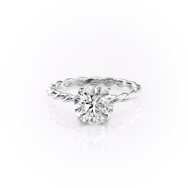 14k White Gold Round Solitaire Alice, 3.05TCW  18k White Gold Round Solitaire Alice, 3.05TCW