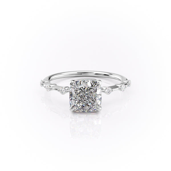 14k White Gold Cushion Solitaire Penelope, 4.2TCW  18k White Gold Cushion Solitaire Penelope, 4.2TCW