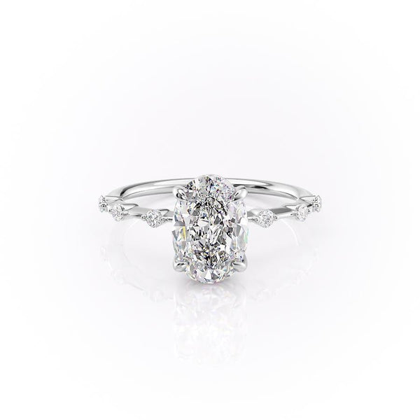 14k White Gold Oval Solitaire Penelope, 1.7TCW  18k White Gold Oval Solitaire Penelope, 1.7TCW