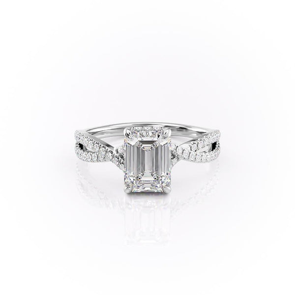 14k White Gold Emerald Split Shank Pave Angelina, 2.94TCW  18k White Gold Emerald Split Shank Pave Angelina, 2.94TCW