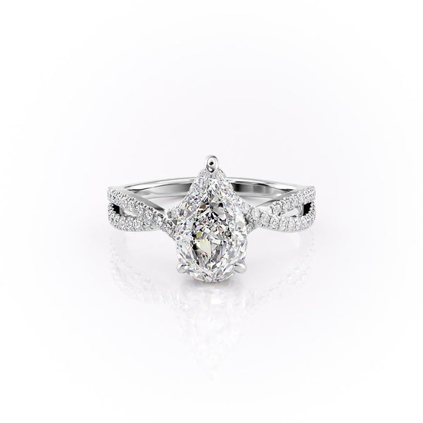 14k White Gold Pear Split Shank Pave Angelina, 2.94TCW  18k White Gold Pear Split Shank Pave Angelina, 2.94TCW