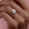 14k Rose Gold Cushion Solitaire Natalie, 3.62TCW  18k Rose Gold Cushion Solitaire Natalie, 3.62TCW