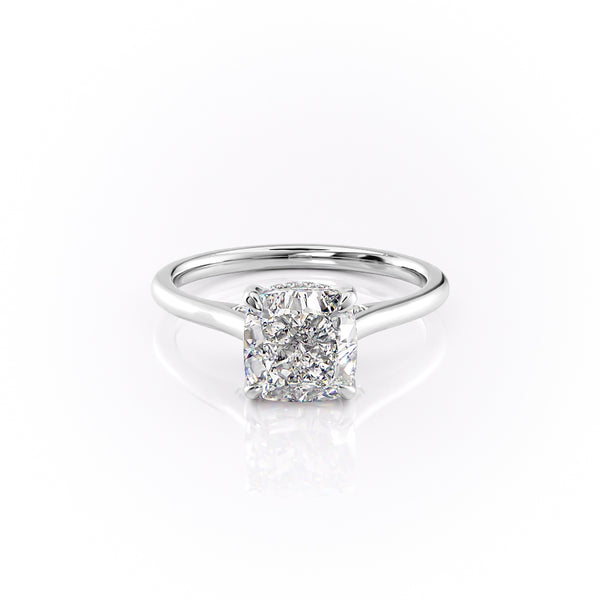 14k White Gold Cushion Solitaire Natalie, 2.12TCW  18k White Gold Cushion Solitaire Natalie, 2.12TCW