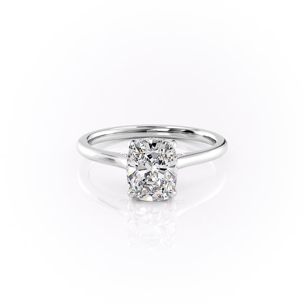 14k White Gold Elongated Cushion Solitaire Natalie, 5.12TCW  18k White Gold Elongated Cushion Solitaire Natalie, 5.12TCW