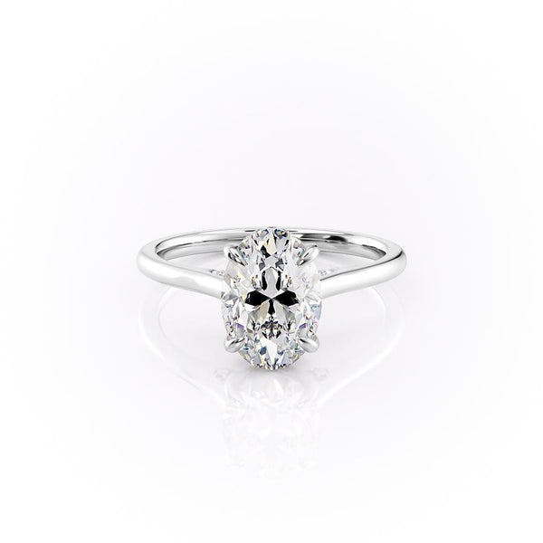 14k White Gold Oval Solitaire Natalie, 3.12TCW  18k White Gold Oval Solitaire Natalie, 3.12TCW