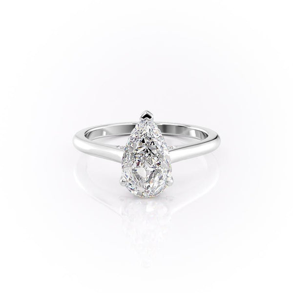 14k White Gold Pear Solitaire Natalie, 4.12TCW  18k White Gold Pear Solitaire Natalie, 4.12TCW