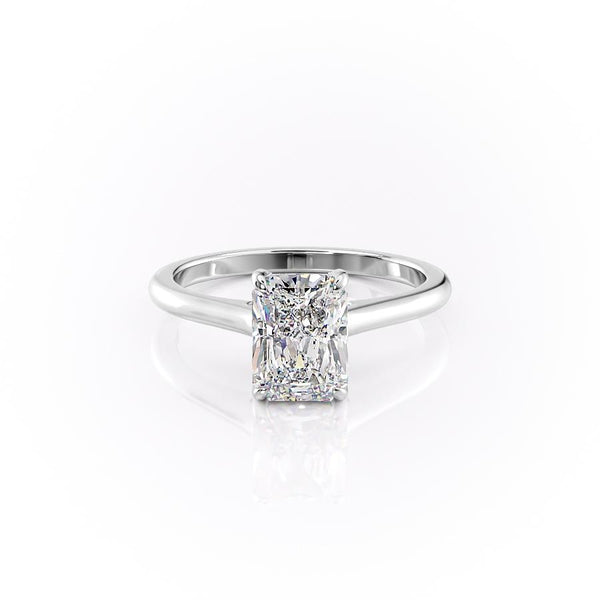 14k White Gold Radiant Solitaire Natalie, 4.12TCW  18k White Gold Radiant Solitaire Natalie, 4.12TCW