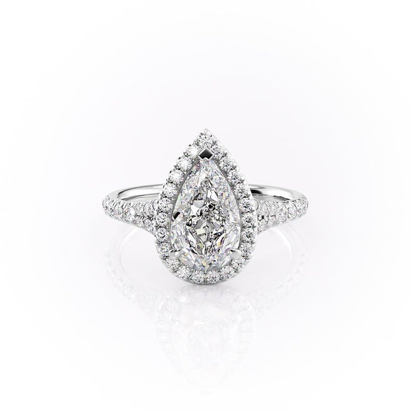 14k White Gold Pear Pave Miley, 4.57TCW  18k White Gold Pear Pave Miley, 4.57TCW