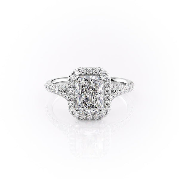 14k White Gold Radiant Pave Miley, 4.57TCW  18k White Gold Radiant Pave Miley, 4.57TCW