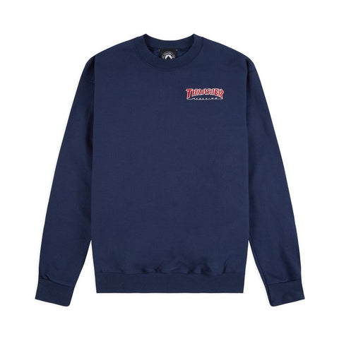 Thrasher Embroidered Outlined Crewneck - Navy
