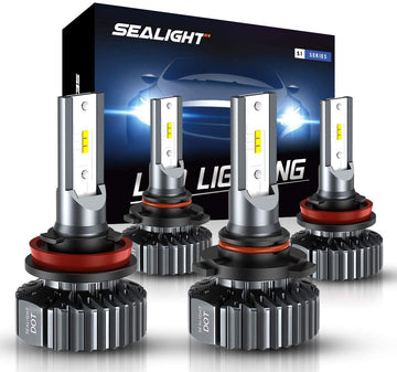 H11 9005 LED Headlight Bulbs Hi Lo Beam,Combo Package Seoul CSP Led Chips-12000LM 6000K Xenon White